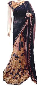 Shree Mira Impex Black Embroidered Georgette Saree Sari With Blouse Piece (mira-45)