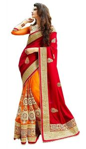 Shree Mira Impex Red Embroidered Georgette Saree Sari With Blouse Piece (mira-61)