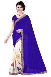 Shree Mira Impex Blue Embroidered Saree Sari With Blouse Piece (mira-87)
