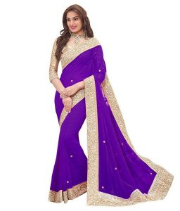 Shree Mira Impex Purple Embroidered Georgette Saree Sari With Blouse Piece (mira-74)