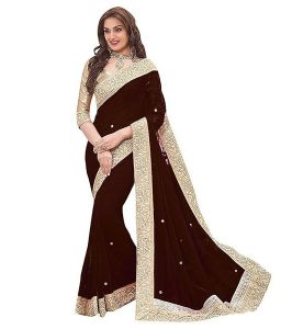 Shree Mira Impex Brown Embroidered Georgette Saree Sari With Blouse Piece (mira-80)