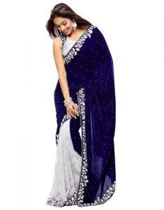 Net Sarees - Pr Fashion Heavy Designer Velvet Rasal Net Gota Blue Embroidered Saree With Unstitched Blouse