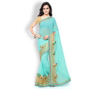 Shree Mira Impex Light Blue Georgette Saree Sari (mira-02)