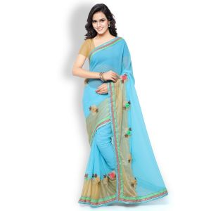 Shree Mira Impex Blue Georgette Saree Sari With Blouse Piece (mira-04)