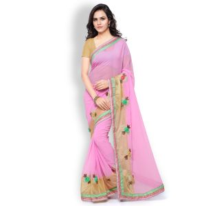 Shree Mira Impex Pink Georgette Saree Sari With Blouse Piece (mira-05)