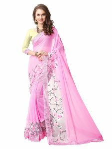 Shree Mira Impex Pink Georgette Saree Sari With Blouse Piece (mira-14)