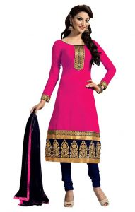 Shree Mira Impex Pink Embroidered Chanderi Cotton Salwar Suit Dress Material (smix-093)