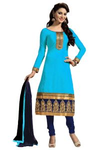 Shree Mira Impex Sky Blue Embroidered Cotton Salwar Suits Dress-material Smix-094