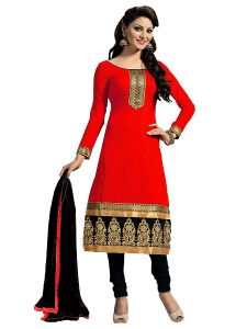 Shree Mira Impex Red Embroidered Chanderi Cotton Salwar Suit Dress Material (smix-095)