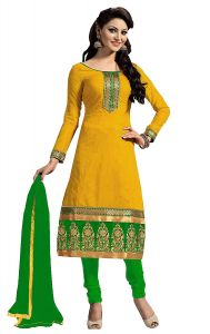 Shree Mira Impex Yellow Embroidered Cotton Salwar Suit Dress Material (smix-097)