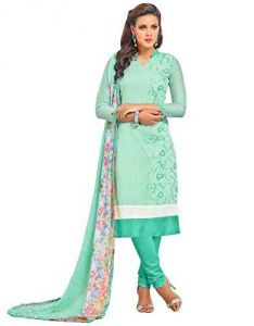 Shree Mira Impex Light Green Embroidered Cotton Salwar Suits Dress Material (smix-111)