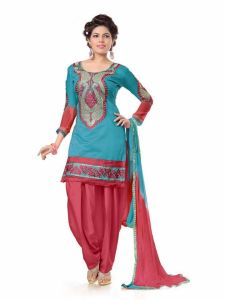 Shree Mira Impex Sky Blue Embroidered Cotton Salwar Suits Dress Material (smix-110)
