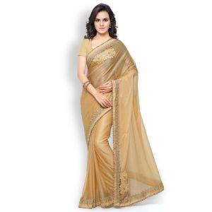 Shree Mira Impex Beige Embroidered Lycra Saree (smix-24)