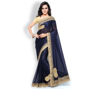 Shree Mira Impex Navy Blue Embroidered Lycra Saree Sari (mira-27)