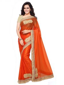 Shree Mira Impex Orange Embroidered Lycra Saree Sari (mira-29)