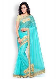 Shree Mira Impex Sky Blue Embroidered Lycra Saree Sari With Blouse Piece (mira-32)