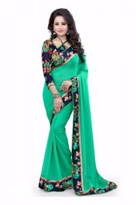Greenvilla Designs Green Sequence Georgette Beautiful Saree With Blouse (gv-plainflower-zilmilgreen)