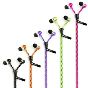 Earphones - Zipper Design 3.5mm In Ear Earbud Stereo Headset Handsfree Headphone Earphone With Mic