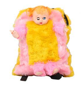 Spero Baby Doll With Feeding Bottle Fur School Bag For Kids, Travelling Bag (Code - Sc 03)