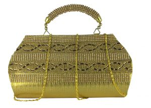 SPERO  Women's Stylish Zip Lock Party  Gold Handbag