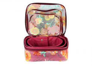 Spero Multi Purpose Kit,make Up Kit,travelling Organiser,cosmetic Organiser Set Of 3 PCs Floral Print 01 Makeup Box 01