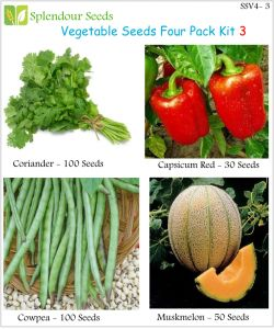 Plants, Seeds - Vegetable Seeds 4 pack kit -3 (Code - SSV4-3) - By Splendour Seeds
