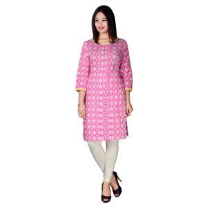 Pink Bling Beige Embroidered Slub & Printed Kurti Pb 16234