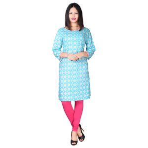 Sai Ruchi Blue Cotton Kurti For Women-(code-krt6033-blu)