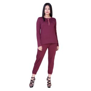 Soie Purple Melange Spandex Night Suit For Women (code - Nt-12purple_melange)