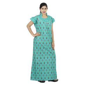 Green Colour Floral Design Printed Collar Neck Cotton Nighty For Ladies - (code Nw0171_g)