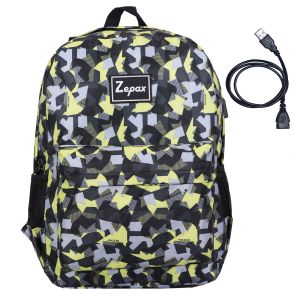 Black Printed USB Charging Port Casual Back Pack