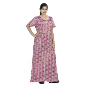 Pink Colour Geometric Design Printed Round Neck Cotton Maternity Nighty For Ladies - (code Nw0160)