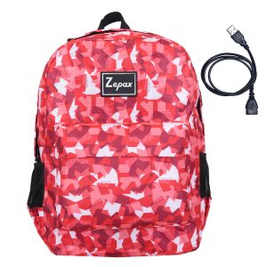 Red Printed USB Charging Port Casual Back Pack