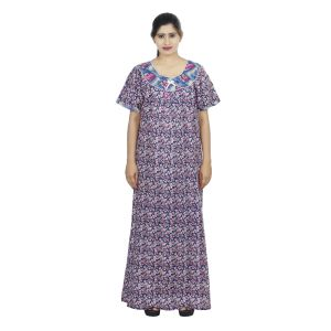 Blue Colour Leaf Design Printed Round Neck Cotton Nighty For Ladies - (code Nw0169_b)