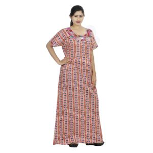Red Colour Geometric Design Printed Round Neck Cotton Maternity Nighty For Ladies - (code Nw0160)
