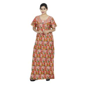 Orange Colour Abstract Design Printed Round Neck Cotton Maternity Nighty For Ladies - (code Nw0161)