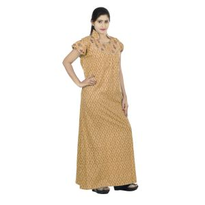 Brown Colour Geometric Design Printed Collar Neck Cotton Nighty For Ladies - (code Nw0170_br)