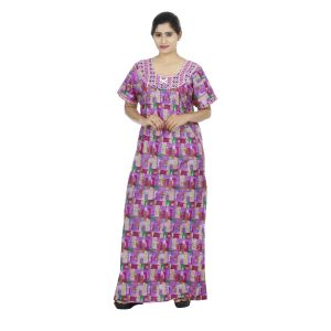 Pink Colour Abstract Design Printed Round Neck Cotton Maternity Nighty For Ladies - (code Nw0161)