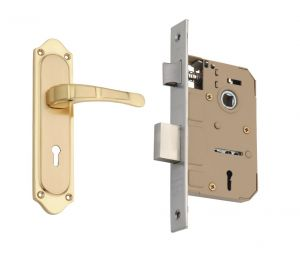 Spider Solid Brass Mortice Key Lock Set With Brass Polish Finish (code-b39memls)