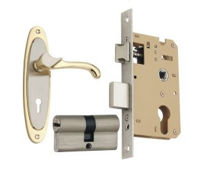 Spider Solid Brass Mortice Cylindrical Lock Set With Silver Gold Finish (code- Fb26sg Sclcs )