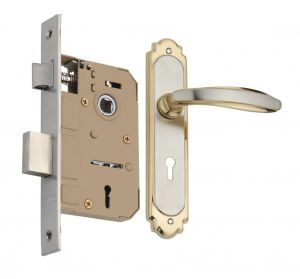 Spider Solid Brass Mortise Key Lock Set With Silver Gold Finish (code- Fb41mgemls)