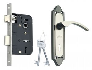 Spider Steel Mortice Key Lock Complete Set With Black Silver Finish (code-s509mbs Rml4)