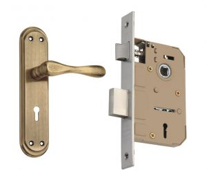 Spider Zinc Mortice Key Lock Complete Set With Antique Brass Finish (code-zz13mab Emls)