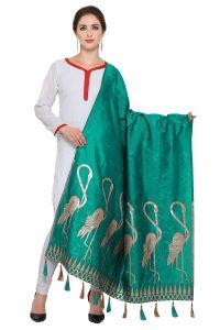 Kavya Shopping Rama Green & Golden Banarasi Dupatta(code-dp012)