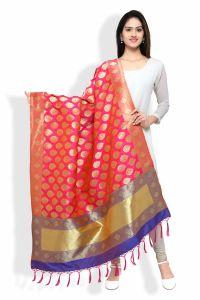 Kavya Shopping Rani Pink And Royal Blue Banarasi Dupatta (code-dp03)