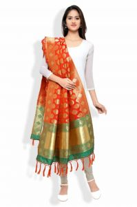 Kavya Shopping Orange & Green Banarasi Dupatta(duppta-dp06)