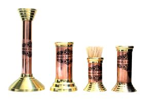Copper Brass Tableware Set Of 4 - Candle Stand, Toothpic Holder, Bud Vase And Straw Stand