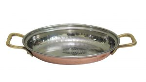 Steel Copper Oval Serving Dish With Brass Handle 550 ML