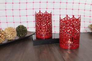 Hosley Set Of 2 Red Metal Sleeve - With Free 6 Unscented Tealights