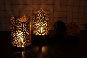 Hosley Set Of 2 Black-gold Metal Sleeve - With Free 6 Unscented Tealights